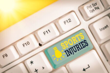 Word writing text Sports Injuries. Business photo showcasing injuries that occur when engaging in sports or exercise White pc keyboard with empty note paper above white key copy space