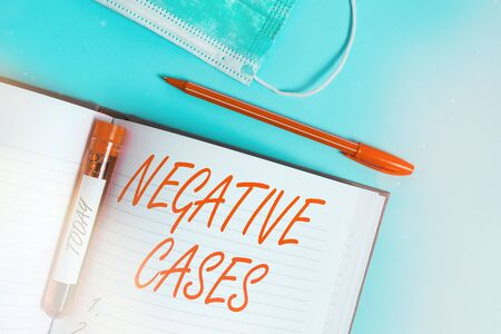 Word writing text Negative Cases. Business photo showcasing circumstances or conditions that are confurmed to be false Extracted blood sample vial with medical accessories ready for examination