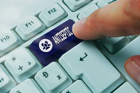 Word writing text Antiseptic. Business photo showcasing antimicrobial agents that delays or completely eliminate the microorganism White pc keyboard with empty note paper above white key copy space 스톡 콘텐츠