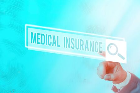 Conceptual hand writing showing Medical Insurance. Concept meaning system of financing the medical expenses of the insured Web search digital futuristic technology network connection