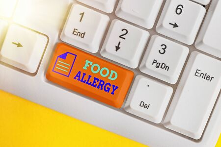Writing note showing Food Allergy. Business concept for abnormal immune system response to allergen after eaten White pc keyboard with empty note paper above white key copy space