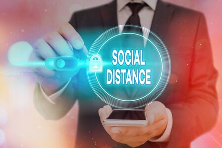 Writing note showing Social Distance. Business concept for degree of acceptance of general interaction of individuals Graphics padlock for web data information security application system