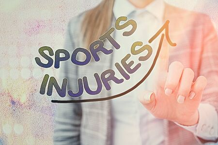 Word writing text Sports Injuries. Business photo showcasing injuries that occur when engaging in sports or exercise digital arrowhead curve rising upward denoting growth development concept