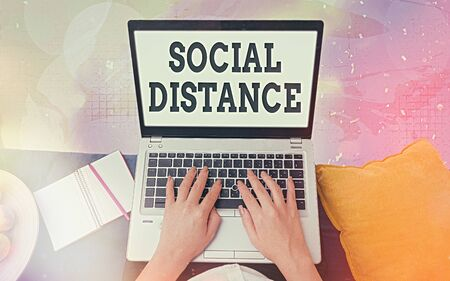 Word writing text Social Distance. Business photo showcasing degree of acceptance of general interaction of individuals Modern gadgets with white display screen under colorful bokeh background