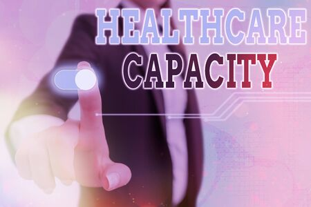 Conceptual hand writing showing Healthcare Capacity. Concept meaning maximum amount of patients provided with the right medical service Graphics padlock for web data security application system