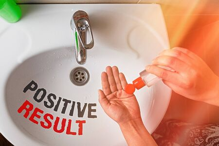 Text sign showing Positive Result. Business photo text shows that an individual has the disease, condition, or biomarker Handwashing procedures for decontamination and minimizing bacterial growth