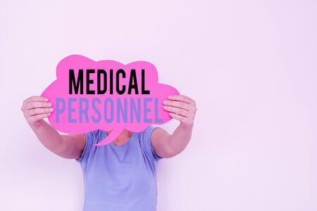 Text sign showing Medical Personnel. Business photo text trusted healthcare service provider allowed to treat illness Empty bubble chat sticker notes mock up emphasizing personal idea concept
