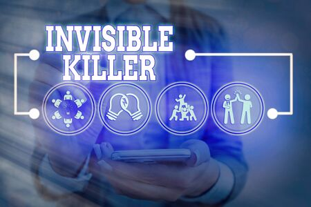 Handwriting text Invisible Killer. Conceptual photo presence into the air of a substance which are harmful Information digital technology network connection infographic elements icon