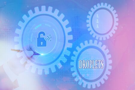 Writing note showing Droplets. Business concept for very small drop of a liquid can be found in certain wet places Graphics padlock for web data information security application system Archivio Fotografico