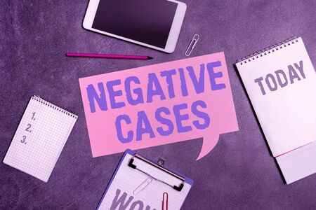 Word writing text Negative Cases. Business photo showcasing circumstances or conditions that are confurmed to be false Paper accesories with digital smartphone arranged on different background