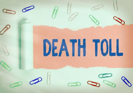 Word writing text Death Toll. Business photo showcasing the number of deaths resulting from a particular incident Rolled ripped torn cardboard placed above a wooden classic table backdrop Stock fotó