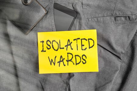 Word writing text Isolated Wards. Business photo showcasing far away from places or showing and having minimal contact Smartphone device inside trousers front pocket with wallet and note paper