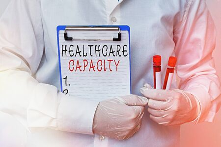 Conceptual hand writing showing Healthcare Capacity. Concept meaning maximum amount of patients provided with the right medical service Laboratory blood test sample for medical diagnostic analysis Фото со стока