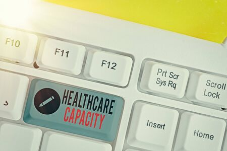 Text sign showing Healthcare Capacity. Business photo text maximum amount of patients provided with the right medical service White pc keyboard with empty note paper above white key copy space