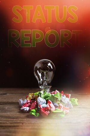 Text sign showing Status Report. Business photo showcasing summarizes the particular situation as of a stated period Realistic colored vintage light bulbs, idea sign solution thinking concept Imagens