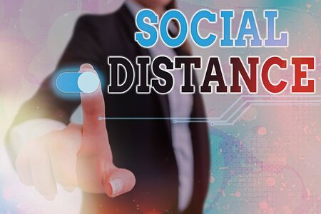 Conceptual hand writing showing Social Distance. Concept meaning degree of acceptance of general interaction of individuals Graphics padlock for web data security application system