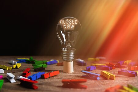 Text sign showing Closed Now. Business photo text of a business having ceased trading especially for a short period Realistic colored vintage light bulbs, idea sign solution thinking concept 版權商用圖片