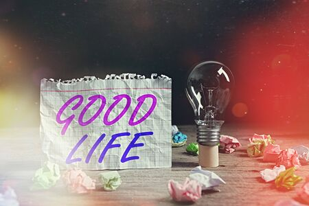 Word writing text Good Life. Business photo showcasing living in comfort and luxury with few problems or worries Realistic colored vintage light bulbs, idea sign solution thinking concept Zdjęcie Seryjne
