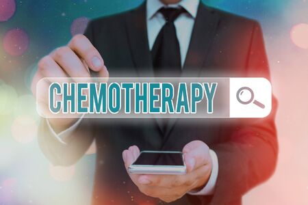 Word writing text Chemotherapy. Business photo showcasing the treatment of disease by the use of chemical substances Web search digital information futuristic technology network connection Reklamní fotografie