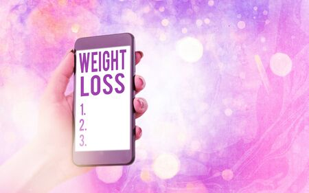 Text sign showing Weight Loss. Business photo showcasing a reduction of the total body mass due to a mean loss of fluid Modern gadgets with white display screen under colorful bokeh background