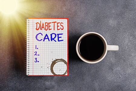 Text sign showing Diabetes Care. Business photo text prevent or treat complication that can result from the disease Paper accesories with digital smartphone arranged on different background Stock Photo