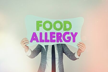 Handwriting text writing Food Allergy. Conceptual photo abnormal immune system response to allergen after eaten Empty bubble chat sticker notes mock up emphasizing personal idea concept Stock Photo