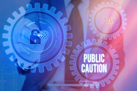 Writing note showing Public Caution. Business concept for formal warning given to the public to express a potential risk Graphics padlock for web data information security application system