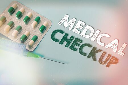Handwriting text writing Medical Checkup. Conceptual photo the examination carried out to determine the physical fitness Primary medical precautionary equipments for health care protection