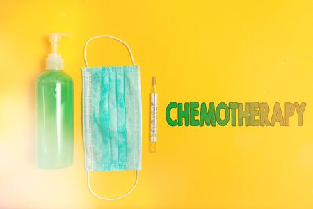 Conceptual hand writing showing Chemotherapy. Concept meaning the treatment of disease by the use of chemical substances Primary medical precautionary equipments health protection