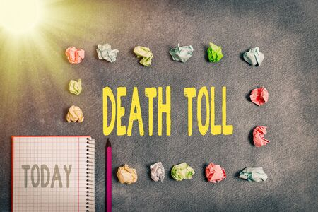 Word writing text Death Toll. Business photo showcasing the number of deaths resulting from a particular incident Paper accesories with digital smartphone arranged on different background