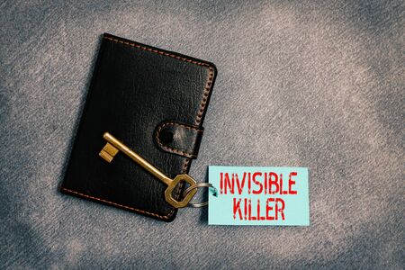 Handwriting text writing Invisible Killer. Conceptual photo presence into the air of a substance which are harmful Paper accesories with digital smartphone arranged on different background
