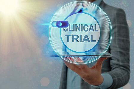 Text sign showing Clinical Trial. Business photo showcasing evaluate the effectiveness and safety of medications Graphics padlock for web data information security application system