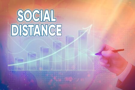 Handwriting text writing Social Distance. Conceptual photo degree of acceptance of general interaction of individuals Arrow symbol going upward denoting points showing significant achievement