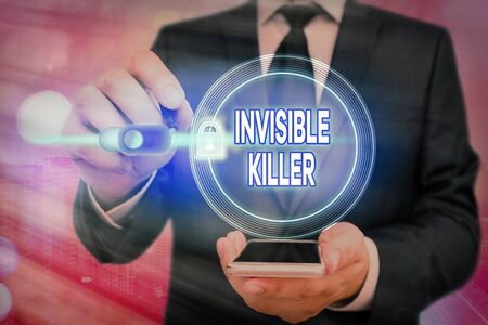 Writing note showing Invisible Killer. Business concept for presence into the air of a substance which are harmful Graphics padlock for web data information security application system