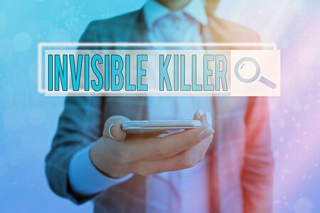 Text sign showing Invisible Killer. Business photo showcasing presence into the air of a substance which are harmful Web search digital information futuristic technology network connection