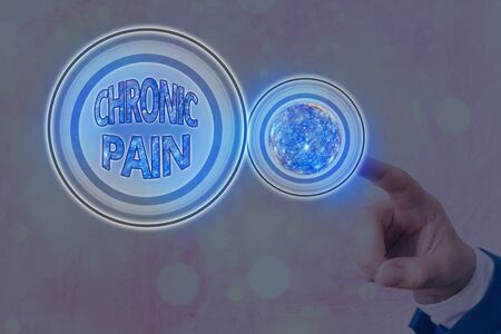 Text sign showing Chronic Pain. Business photo showcasing discomfort that persists or progresses over a long period Futuristic icons solar system. Elements of this image furnished by NASA
