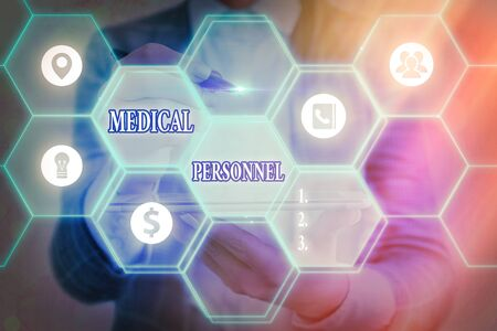 Word writing text Medical Personnel. Business photo showcasing trusted healthcare service provider allowed to treat illness Grids and different set up of the icons latest digital technology concept Stock Photo