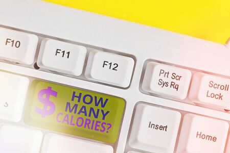 Handwriting text writing How Many Calories Question. Conceptual photo asking how much energy our body could get from it White pc keyboard with empty note paper above white key copy space