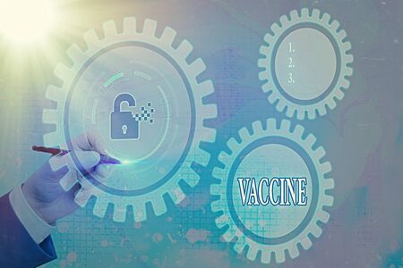 Writing note showing Vaccine. Business concept for preparation of killed microorganisms or living attenuated organisms Graphics padlock for web data information security application system Stock fotó