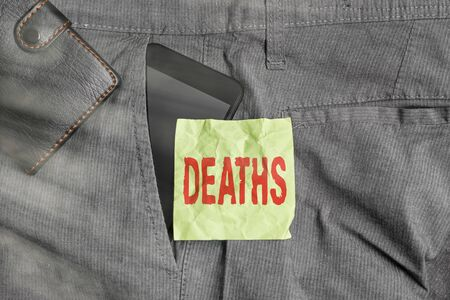 Handwriting text writing Deaths. Conceptual photo permanent cessation of all vital signs, instance of dying individual Smartphone device inside trousers front pocket with wallet and note paper