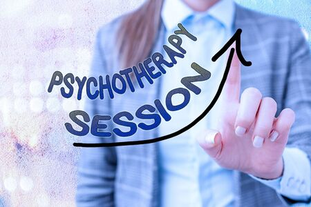 Word writing text Psychotherapy Session. Business photo showcasing series of meetings in treating mental health problems digital arrowhead curve rising upward denoting growth development concept Stockfoto