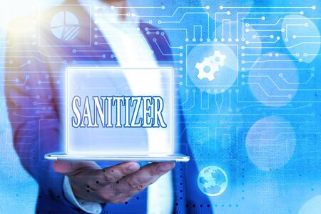 Text sign showing Sanitizer. Business photo showcasing liquid or gel generally used to decrease infectious agents System administrator control, gear configuration settings tools concept