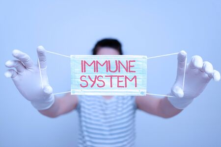 Text sign showing Immune System. Business photo text Complex network work together to defend against germs Promoting health awareness with set of medical precautionary equipment
