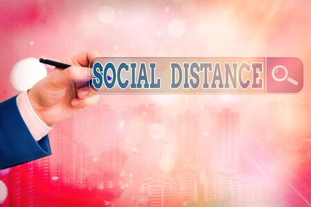 Word writing text Social Distance. Business photo showcasing degree of acceptance of general interaction of individuals Web search digital information futuristic technology network connection