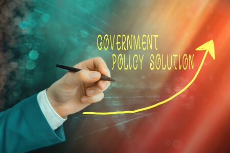 Handwriting text writing Government Policy Solution. Conceptual photo designed game plan created in response to emergency disaster digital arrowhead curve rising upward denoting growth development concept Stok Fotoğraf