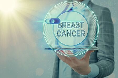 Text sign showing Breast Cancer. Business photo showcasing disease in which cells in the grow out of control Graphics padlock for web data information security application system