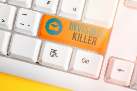 Text sign showing Invisible Killer. Business photo text presence into the air of a substance which are harmful White pc keyboard with empty note paper above white key copy space