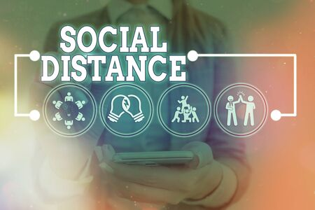 Handwriting text Social Distance. Conceptual photo degree of acceptance of general interaction of individuals Information digital technology network connection infographic elements icon
