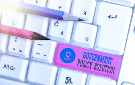 Writing note showing Government Policy Solution. Business concept for designed game plan created in response to emergency disaster White pc keyboard with empty note paper above white key copy space Stok Fotoğraf