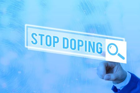 Conceptual hand writing showing Stop Doping. Concept meaning quit the use of banned athletic performanceenhancing drugs Web search digital futuristic technology network connection 写真素材